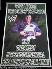 WWE HONKY TONK MAN Autographed GREEN BANNER W/COA From HTM Rare
