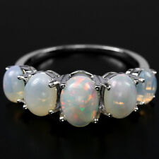 Sterling Silver 925 Genuine Natural Opal with Fire Lustre Band Ring Sz P1/2 US 8