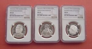 Algeria 1994 Famous People Series 10 Dinars Silver 3 Coins NGC MS68-69