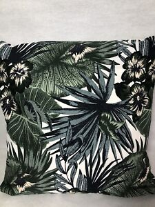 """Plants and Leaves 16"""" Square Cushion Cover in a Swedish Design Dark Grey"""