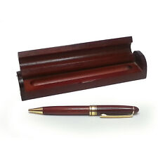 ballpoint pen with wood storage display box gold tone accents red wood decor