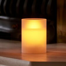 Auraglow Frosted Glass Flickering Flameless LED Decorative Candle Safety Flame