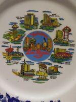 Vintage Souvenir Plate of Las Vegas Hilton, Circus Circus, Dunes, Ceasers Hotels