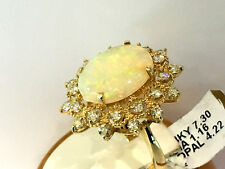 14K Yellow Gold Diamond Cocktail Ring with Natura large Australian Opal.size 7.5