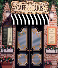 5x7FT Paris Retro Stone Coffee cafe Store Eiffel Tower party backdrop background