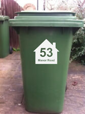 4 X WHEELIE BIN STICKERS WITH HOUSE NUMBER & ADDRESS (E)