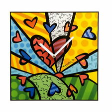 A NEW DAY Goebel Uhr PopArt 66452041 Wanduhr Clock Romero Britto Herz Heart