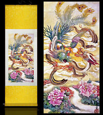 Chinese Silk Scroll Painting Dragon & Phoenix Home Office Decoration (龙凤呈祥)