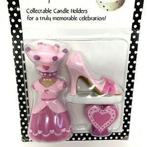 Candle Keepsakes Pink Princess Cake Candle Holders 4 Piece Collectable Birthday