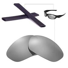 New Walleva Polarized Titanium Lenses + Black Earsocks 4 Oakley Straight Jacket