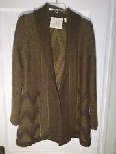 Angel of the North Anthropologie Green Equinox Open Cardigan Sweater size S