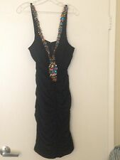 FANCY ELEGANT SEXY BLACK EVENING DRESS WITH COLORED STONES IN FRONT