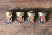 Lot de 4 anciennes roulettes de fauteuils en bois et bronze - Lot 1