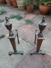 VINTAGE PAIR OF RARE BRASS  FIRE DOGS.  FIREPLACE