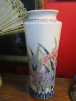 Vintage MID CENTURY 1980s Japanese Vase by Ayame with Handpainted Iris