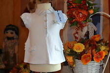 tee shirt neuf tartine et chocolat 1 mois blanc poches petit noeud froufrou dos