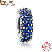 Shining Authentic S925 Sterling Silver Charms With Blue Cz For P Bracelets Chain