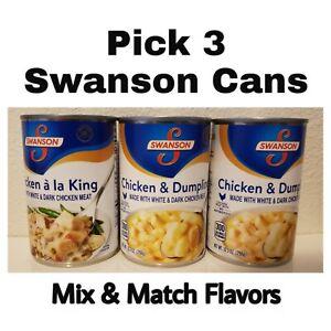 Swanson 3 Cans 10.5 oz Each Chicken a La King or Chicken & Dumplings Mix & Match