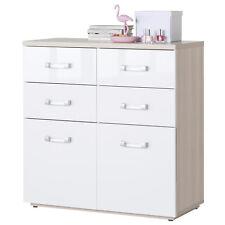 Cassettiera multiuso 6 cassetti frassino e bianco laccato design arredo moderno