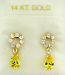 YELLOW TOPAZ & WHITE SAPPHIRES DANGLING DROP EARRINGS 14k GOLD * New With Tag