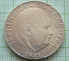 AUSTRIA 1971 50 SCHILLING, 80th ANNIVERSARY OF JULIUS RAAB, SILVER UNC