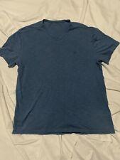Calvin Klein Short Sleeve V-neck Blue Cotton Shirt XL