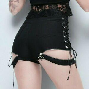 Women Lace Up Shorts Gothic Punk Zip Sexy Mini Hot Pants Dance Hollow Out