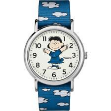 Montre TIMEX WEEKENDER PEANUTS TW2R41300 de Tissu Bleu Blanc NEUF Unisex Snoopy