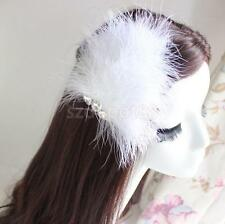 Wedding Party Hairpin Clips Feather Diamante Snaps DIY Hair Accessory #2