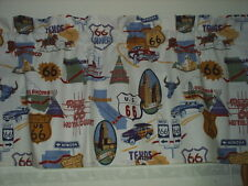"ROUTE 66 CARS *SET OF 2* CURTAIN VALANCES 42W X 14""L EACH, (84 X 14 TOTAL) NEW!"