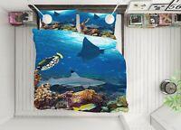 3D Shark Stone ZHUA478 Bed Pillowcases Quilt Duvet Cover Set Queen King Zoe