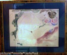 ALAIN*BONNEFOIT*AQUARELLE*ORIGINALE*ART*NUDE*NU*CHARNELLE*GIRL*OR*RARE*COLLECTOR