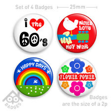 "1960's 60s Hippy Fancy Dress PEACE Hippie FLOWER POWER Fancy Dress -1"" Badges"
