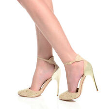 Gold Stiletto Heel Gem Stone Diamante Ankle Strap Ladies Party Classy Shoes Nude UK 5 EU 38