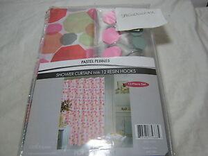 NEW Popular Bath Pastel Pebbles 13pc Shower Curtain & Shower Hooks Set NIP