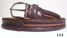 NEW LEATHER WESTERN  BROWN BELT with Orange braid BELT $74 LARGE or Medium ONLY