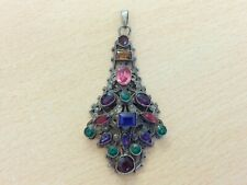 ANTIQUE MULTI COLOURED PASTE JEWELS AUSTRO HUNGARIAN PENDANT 1880