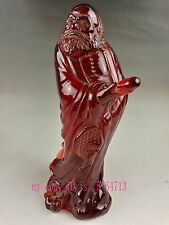 Collection China Folk  amber carving and statues-Da mo zu shi