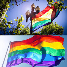1 New RAINBOW FLAG Large 3' X 5' GAY LESBIAN PRIDE BANNER LGBT PEACE FESTIVAL