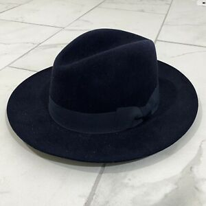 IMPOSSIBLE TO FIND Suitsupply Rabbit Fur Fedora Hat Size 7 1/4 Navy Blue M/L