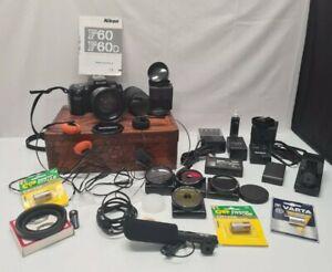 Vintage Nikon F60 Kamera Zubehör Nachlass Camera Objektiv Tamron Hama Vivanco