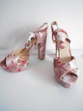 34b10777c26 NEW Qupid Women s Light Pink Floral Cross Strap Platform Heels Size 8.5