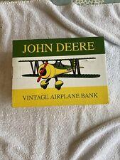 MINT John Deere Vintage Airplane Bank  Spec-Cast New #37516 SMOKE FREE HOME