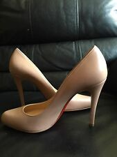 BRAND New CHRISTIAN LOUBOUTIN Red Soles Beige Nude Leather Pumps Heels 39 8 US