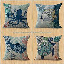 set of 4 cushion covers beach coastal turtle sea life fish pillow throw covers
