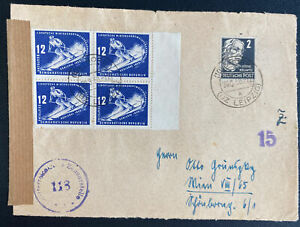 1950 Leipzig DDR East Germany First Day Front Cover FDC Winter Olympic Stamps