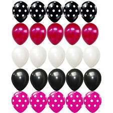 25X Latex balloon Minnie Mouse Polka dots Black Pink white kid birthday Supplies