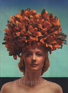 1930s Vintage Heavy Lilies EDWARD STEICHEN Surreal Female Head Flower Photo Art