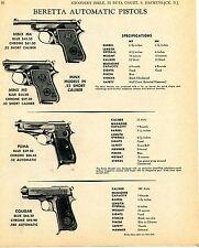 1969 Print Ad of Beretta .22 Minx M4 M2 .32 Puma & .380 Cougar Automatic Pistol
