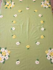 Embroidered Crewel Wool Blend Blanket Coverlet Green Vtg Daisy Bouquet Cutter